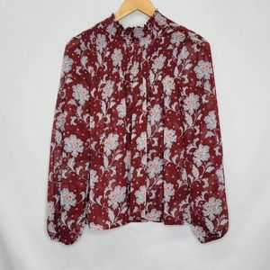 A.N.A Floral Long Sleeve Shear High Neck Blouse Ruby Floral